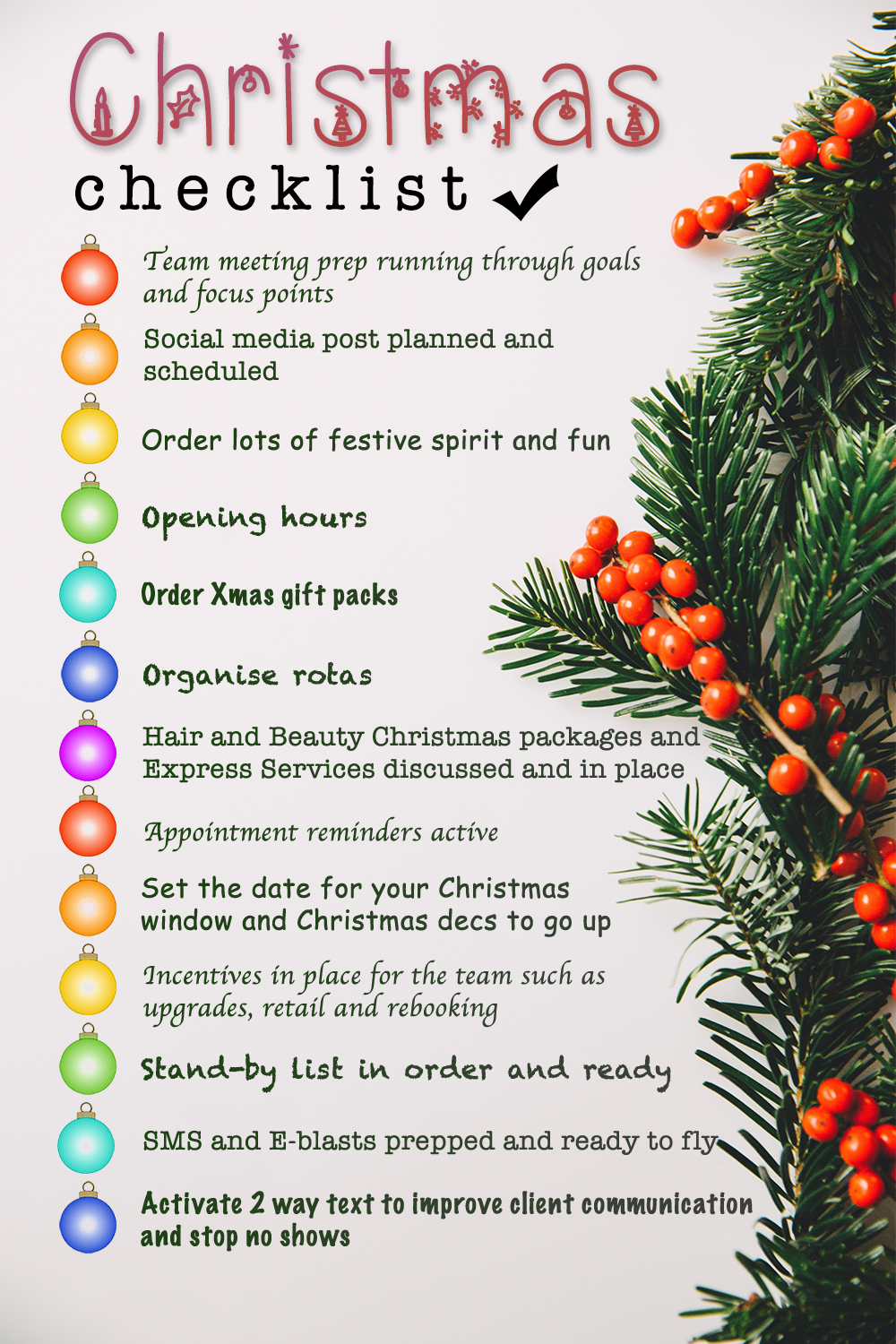 Christmas salon check list